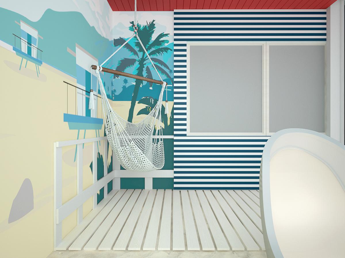 6 projekt biura K073 strefa rekreacyjna tapeta w motyw plazy hamak zabudowa budki ratownika