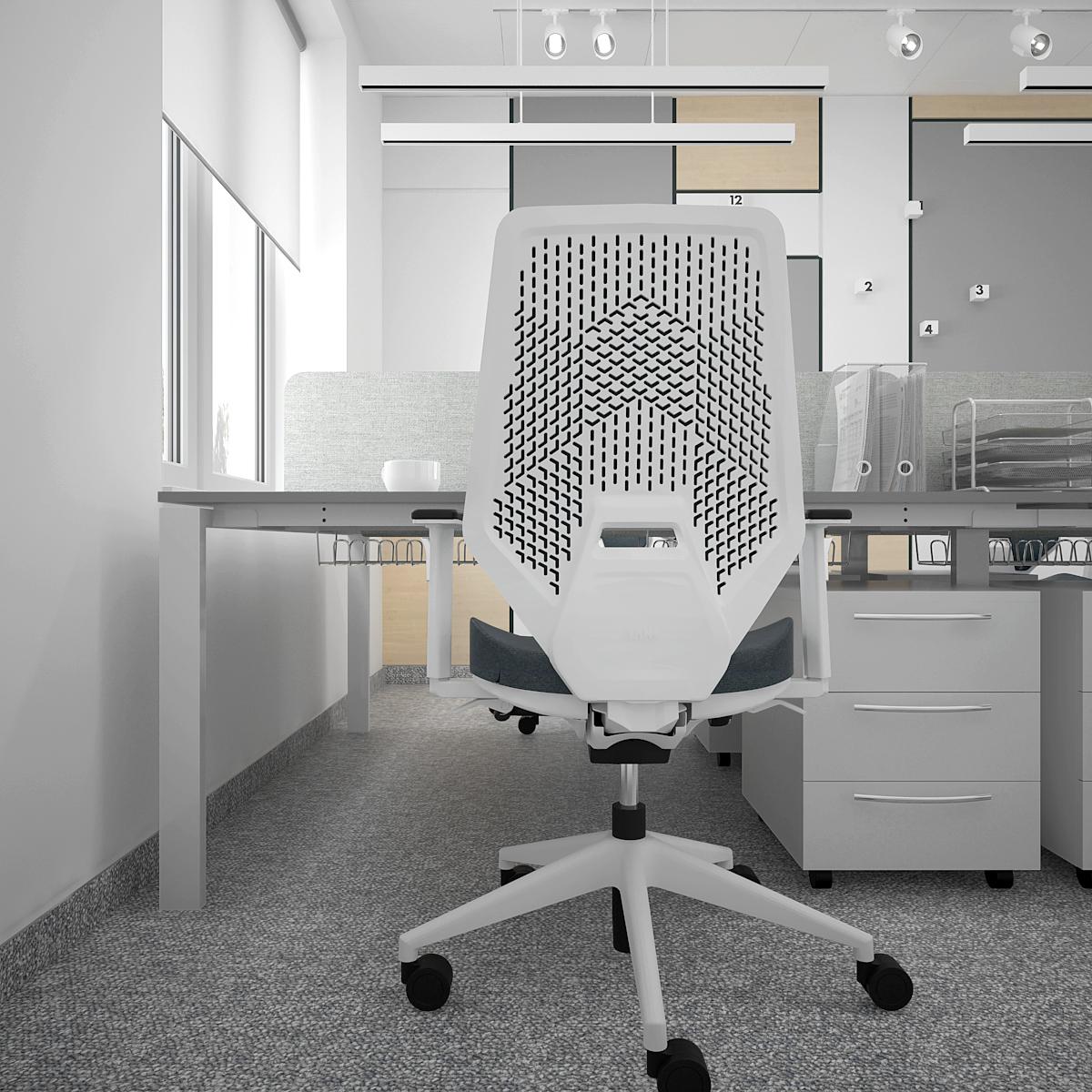 7 aranzacja biura B128 biuro krakow stanowisko pracy fotel biurowy vank szary kontenerek