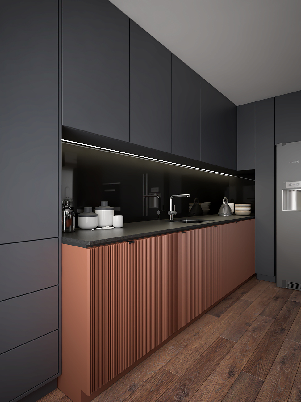 7 aranzacja wnetrza M563 mieszkanie katowice salon z kuchnia miedziane dolne zabudowy z lamelami szare fronty blat z corianu czarna wneka