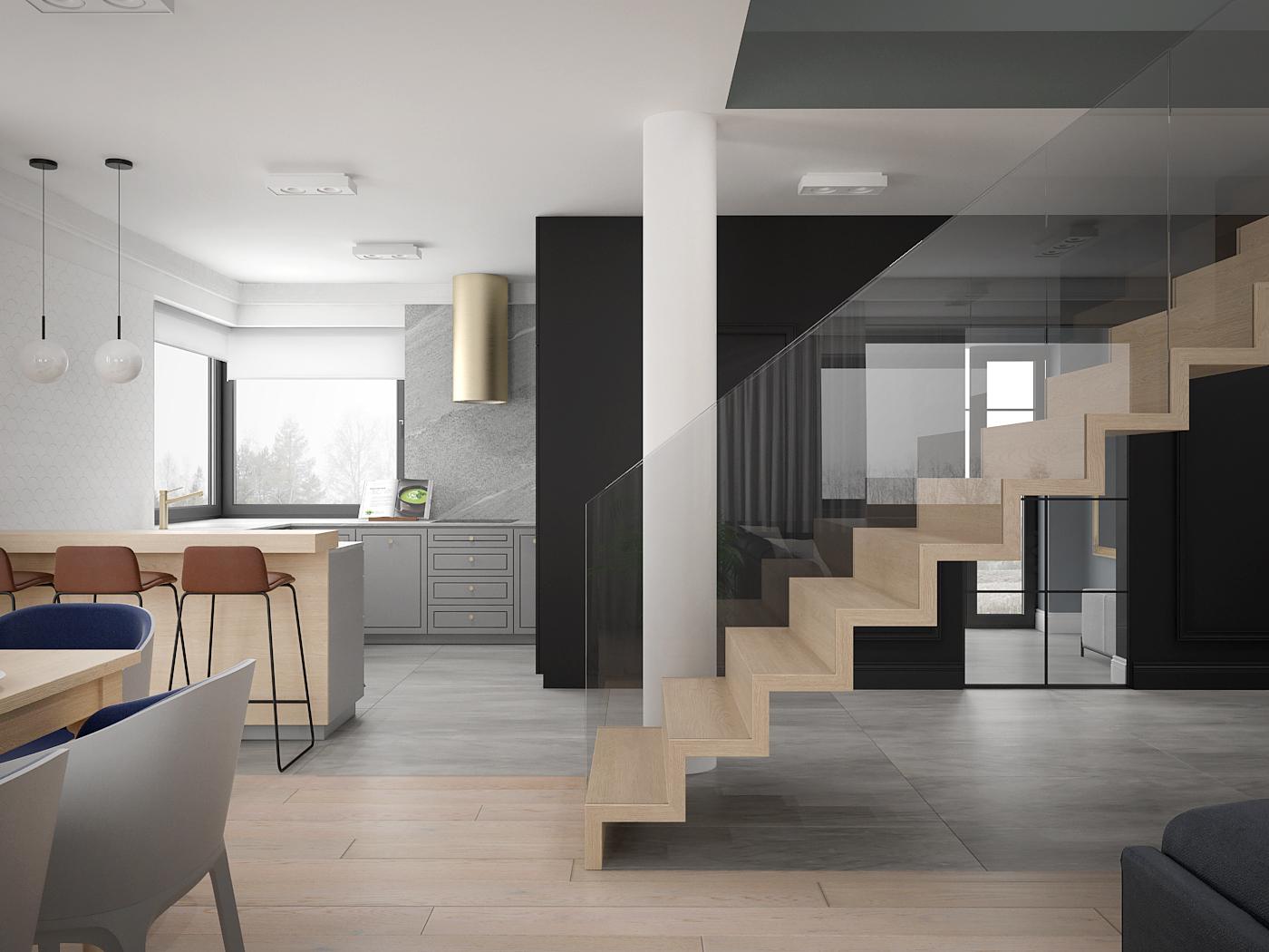 7 architek wnetrz D538 dom nowy sacz salon z kuchnia schody drewniane dywanowe szklana balustrada
