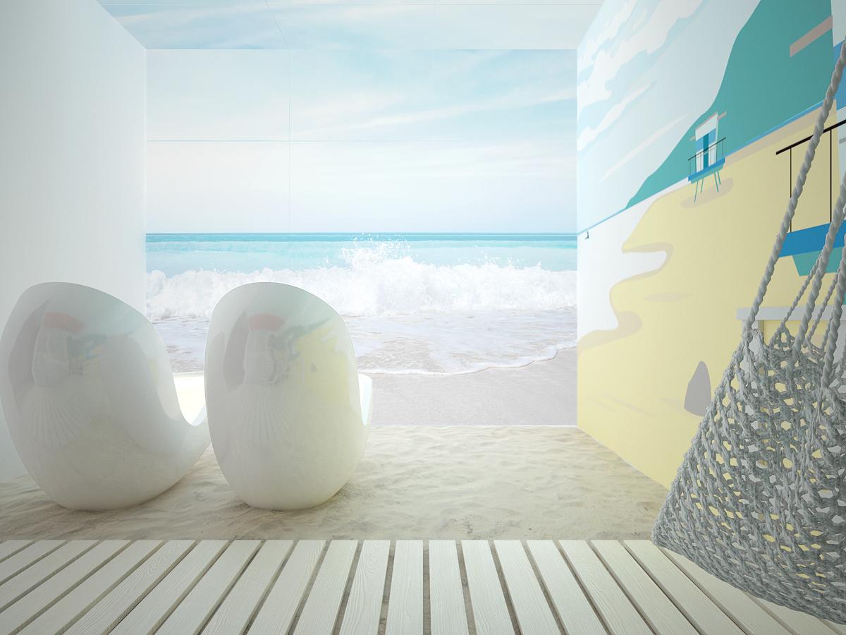 7 projekt biura K073 strefa rekreacyjna piasek na podlodze podswietlana sciana z motywem morza kapsuly do spania