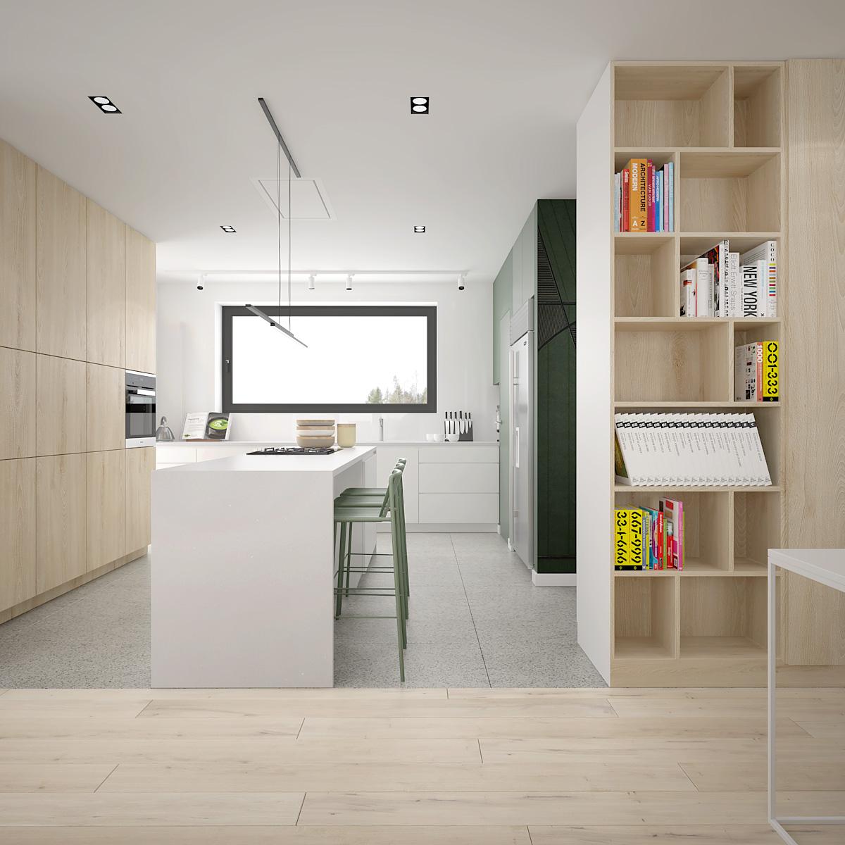 7 projekt wnetrza D552 dom krakow kuchnia z duza wyspa