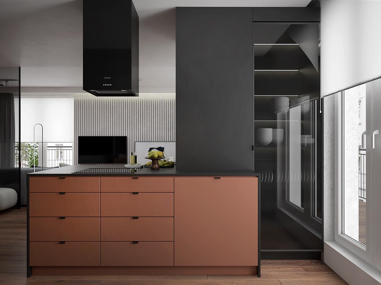 8 aranzacja wnetrza M563 mieszkanie katowice salon z kuchnia miedziane fronty blat z corianu wyspa z plyta indukcyjna czarny okap wyspowy