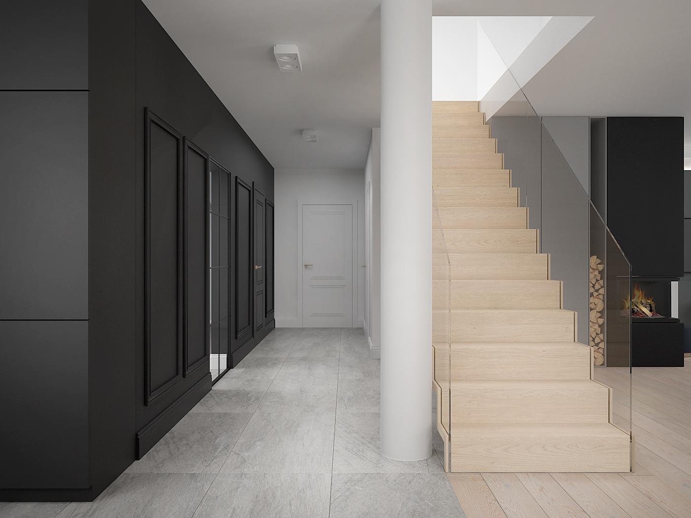 8 architek wnetrz D538 dom nowy sacz korytarz schody dywanowe czarna sciana