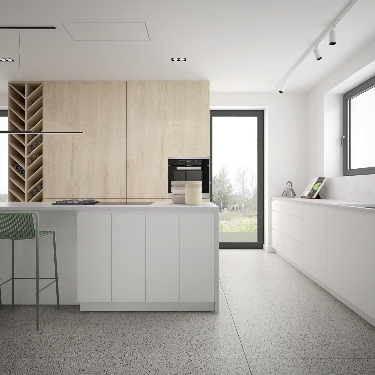 8 projekt wnetrza D552 dom krakow minimalistyczna kuchnia z polka na wina