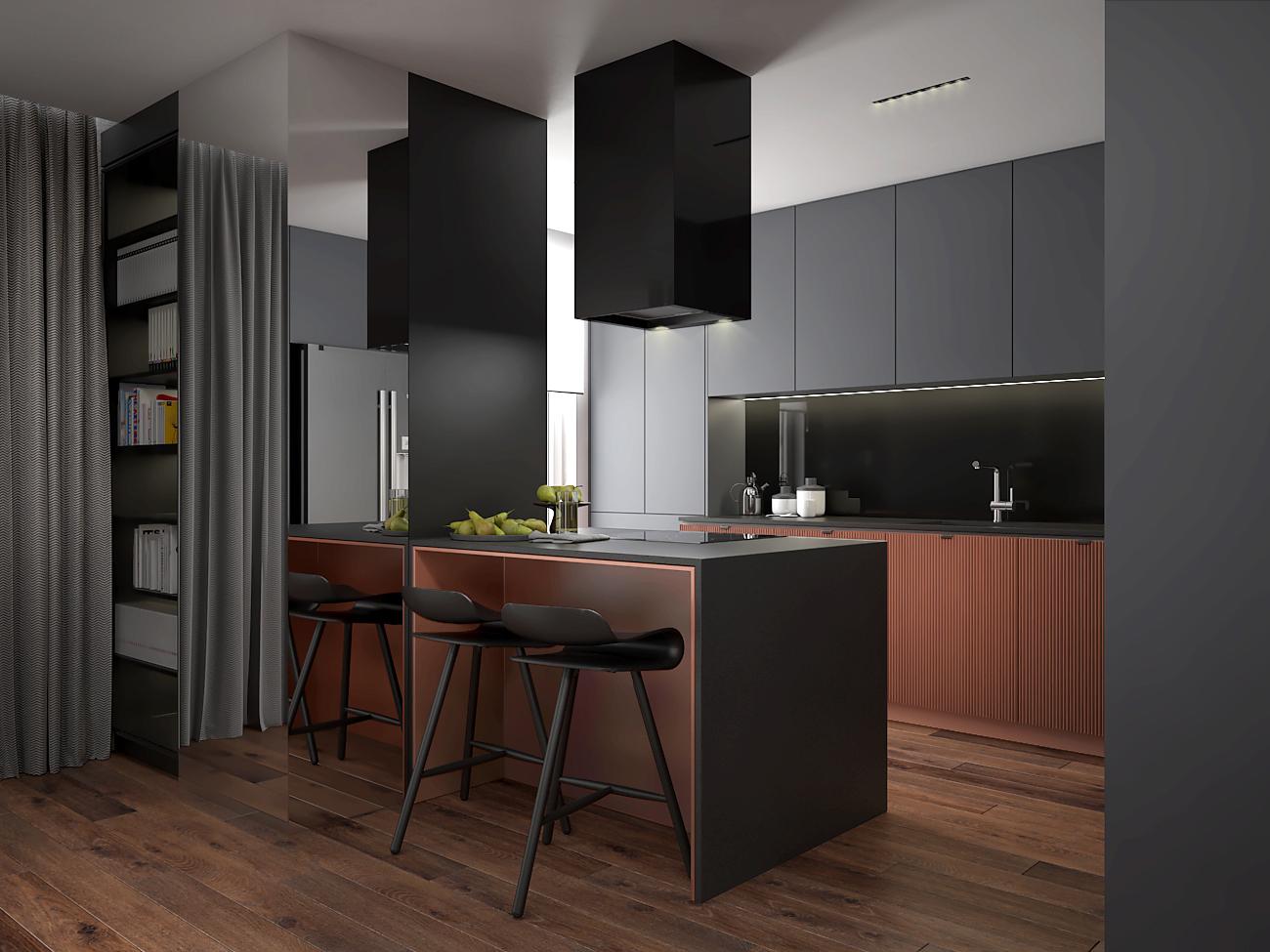 9 aranzacja wnetrza M563 mieszkanie katowice salon z kuchnia wyspa z miedzianymi elementami czarny okap wyspowy hokery