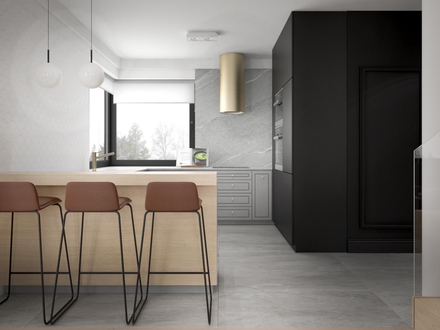 9 architek wnetrz D538 dom nowy sacz kuchnia zloty okap polwyspa z hokerami czarna sciana