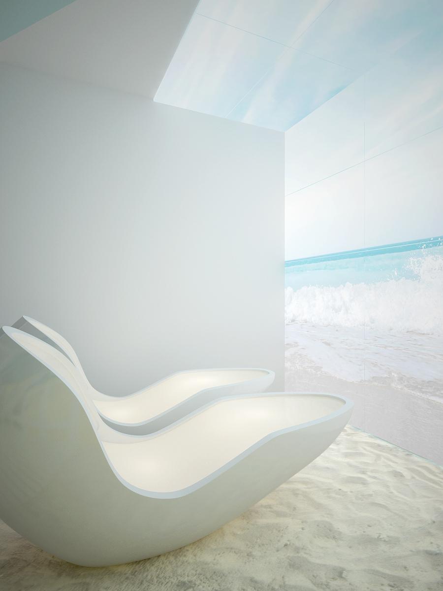 9 projekt biura K073 strefa rekreacyjna kapsuly do relaksu podswietlana sciana i sufit z motywem morza piasek na podlodze