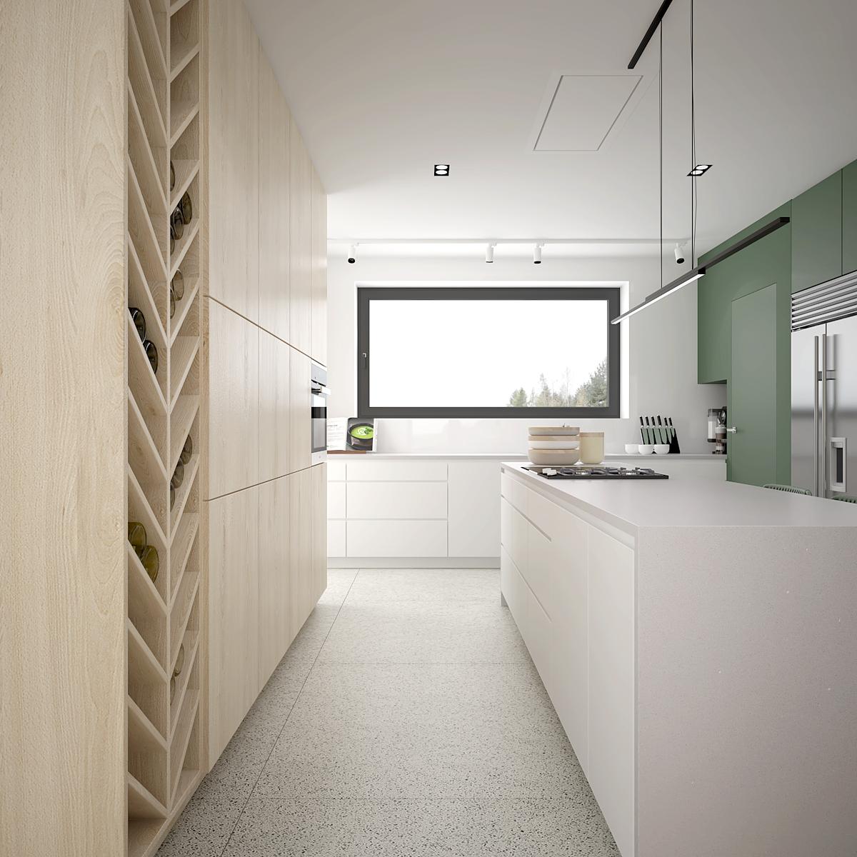 9 projekt wnetrza D552 dom krakow nowoczesna kuchnia wyspa z plyta
