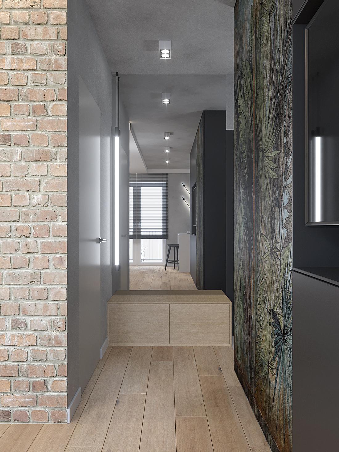 1 aranzacja wnetrz M387 mieszkanie Katowice korytarz siedzisko lustro cegla tapata liscie