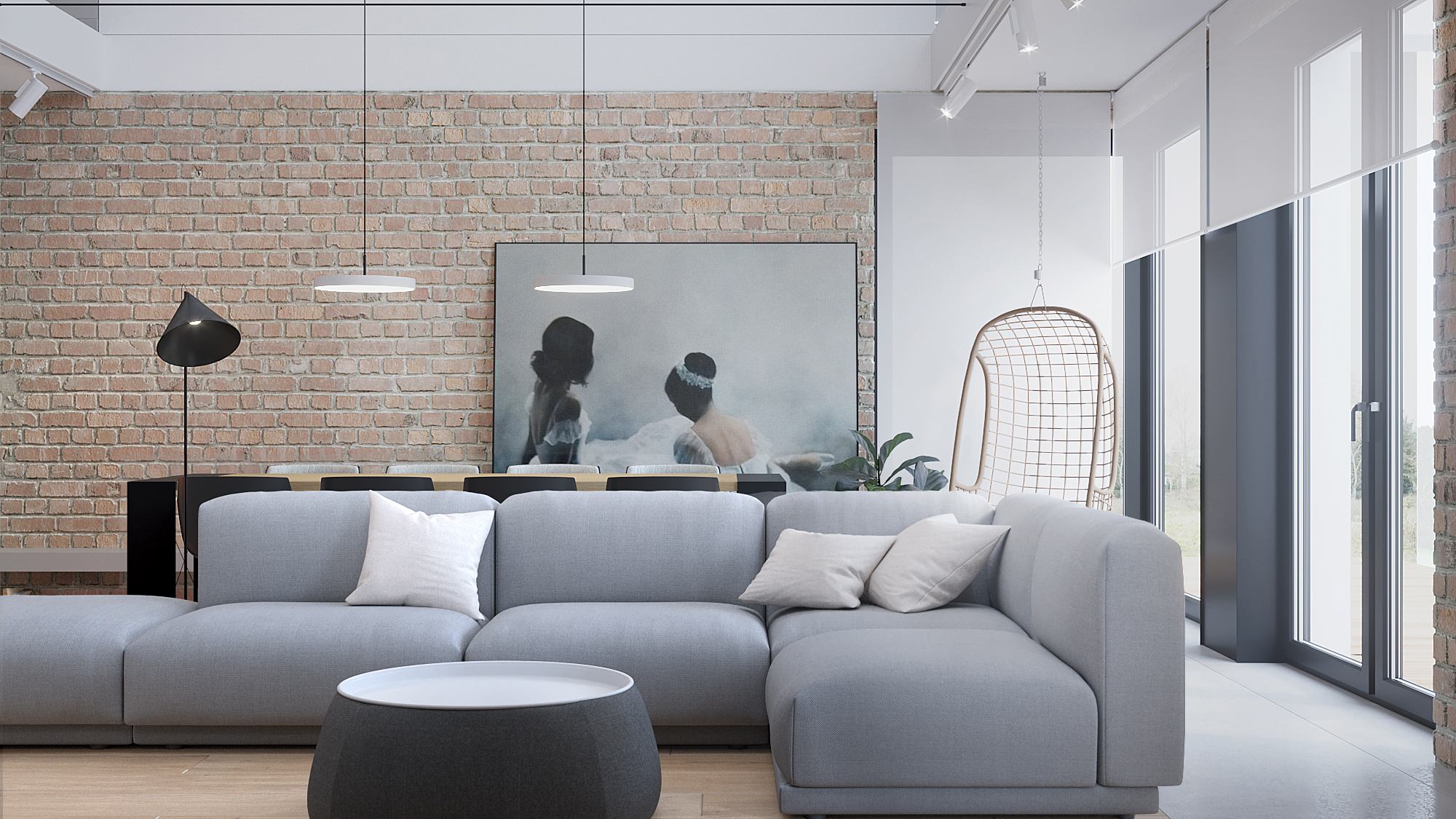 1 architekt wnetrz D428 dom Ruda Slaska salon z jadalnia szara sofa cegla na scianie wiszacy fotel