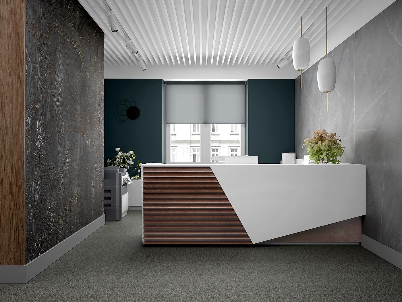 1 projekt biura B247 Kancelaria warszawa lada recepcyjna sofa w poczekalni sciana z plyty meblowej azurowy sufit tapeta na scianie