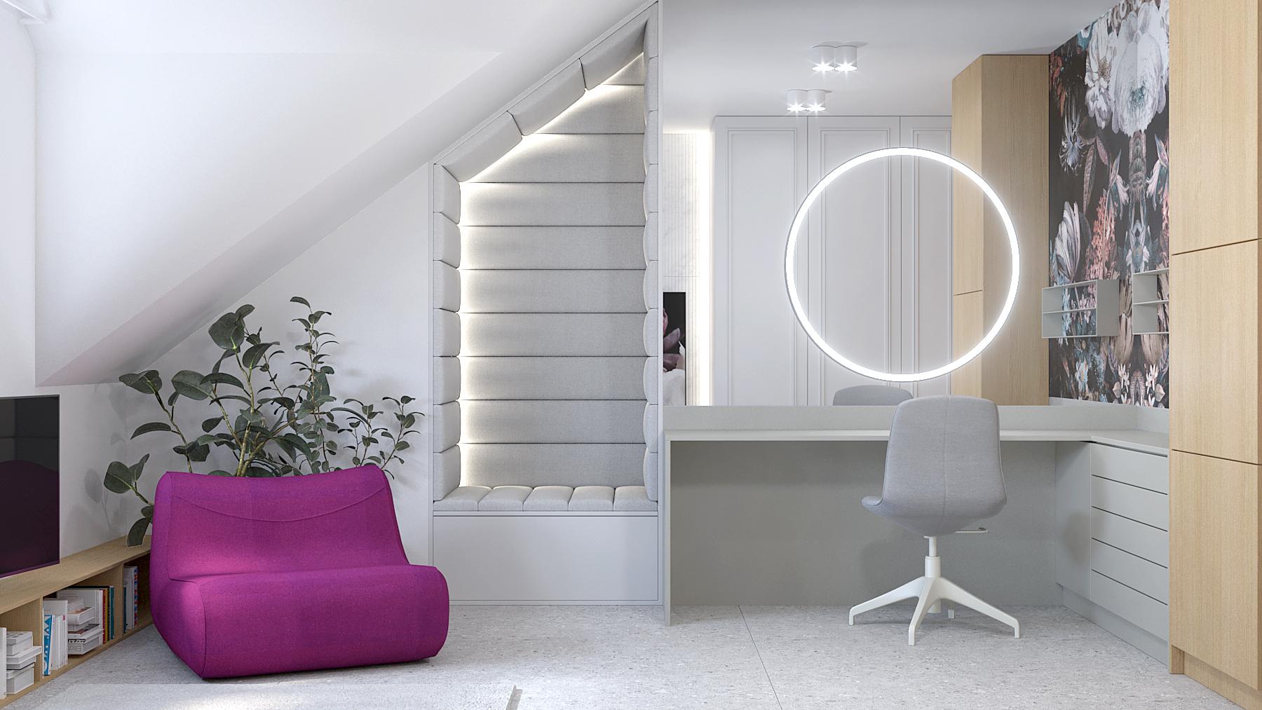 1 projektant wnetrz D423 poddasze Myslowice toaletka tapeta kwiaty foletowy fotel siedzisko tapicerowane