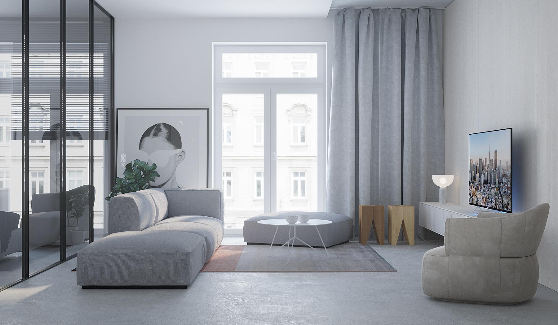 1 projektowanie wnetrz M245 mieszkanie krakow salon w kamiennicy betonowa posadzka szara sofa loftowe przeszklenie