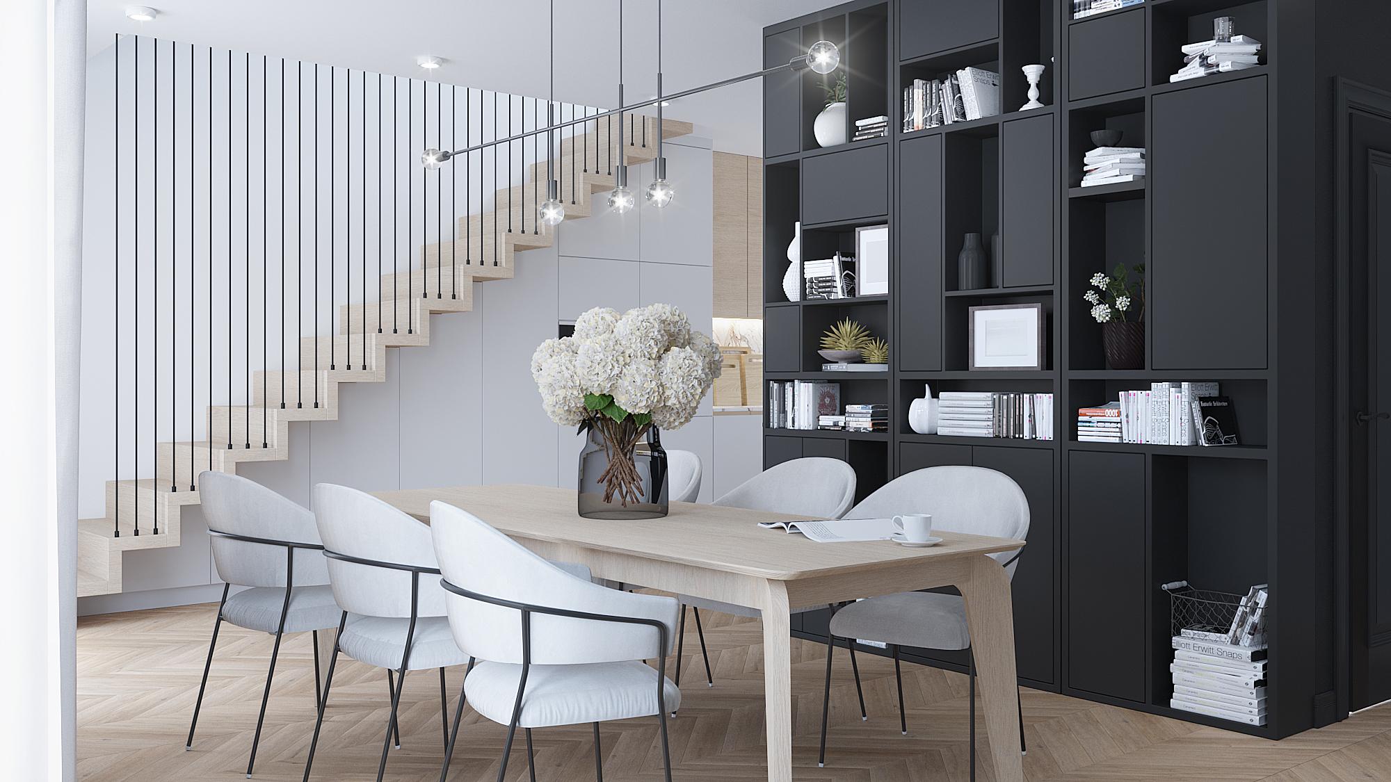 1 projektowanie wnetrz M356 mieszkanie Krakow zabudowa grafitowy regal drewniany stol lampa nad stolem szare krzesla