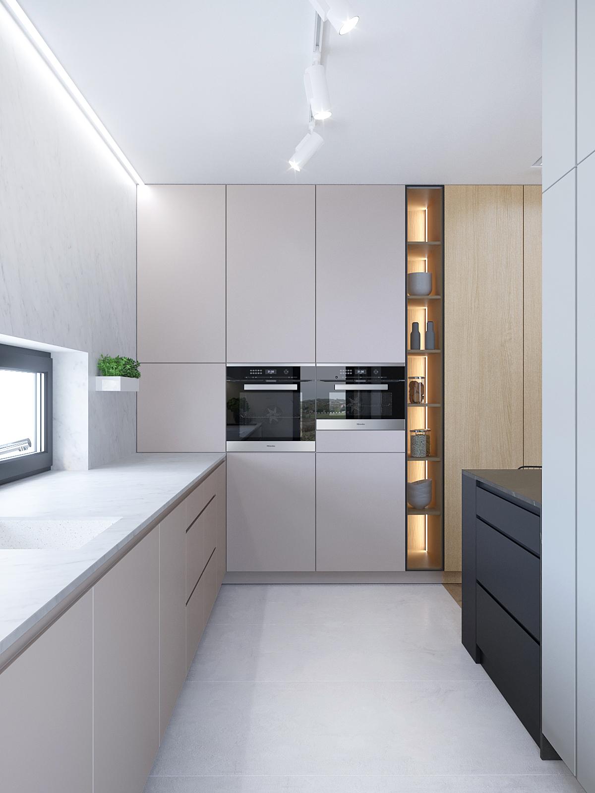 10 architekt wnetrz D428 dom Ruda Slaska kuchnia bezowe fronty podswietlone polki drewniane fronty