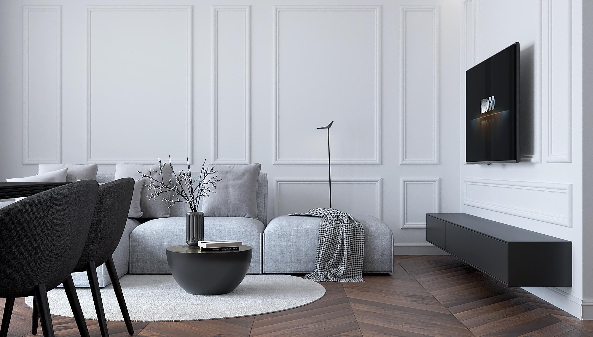 10 architekt wnetrz M489 mieszkanie krakow salon czarna szafka rtv szara sofa listwy dekoracyjne