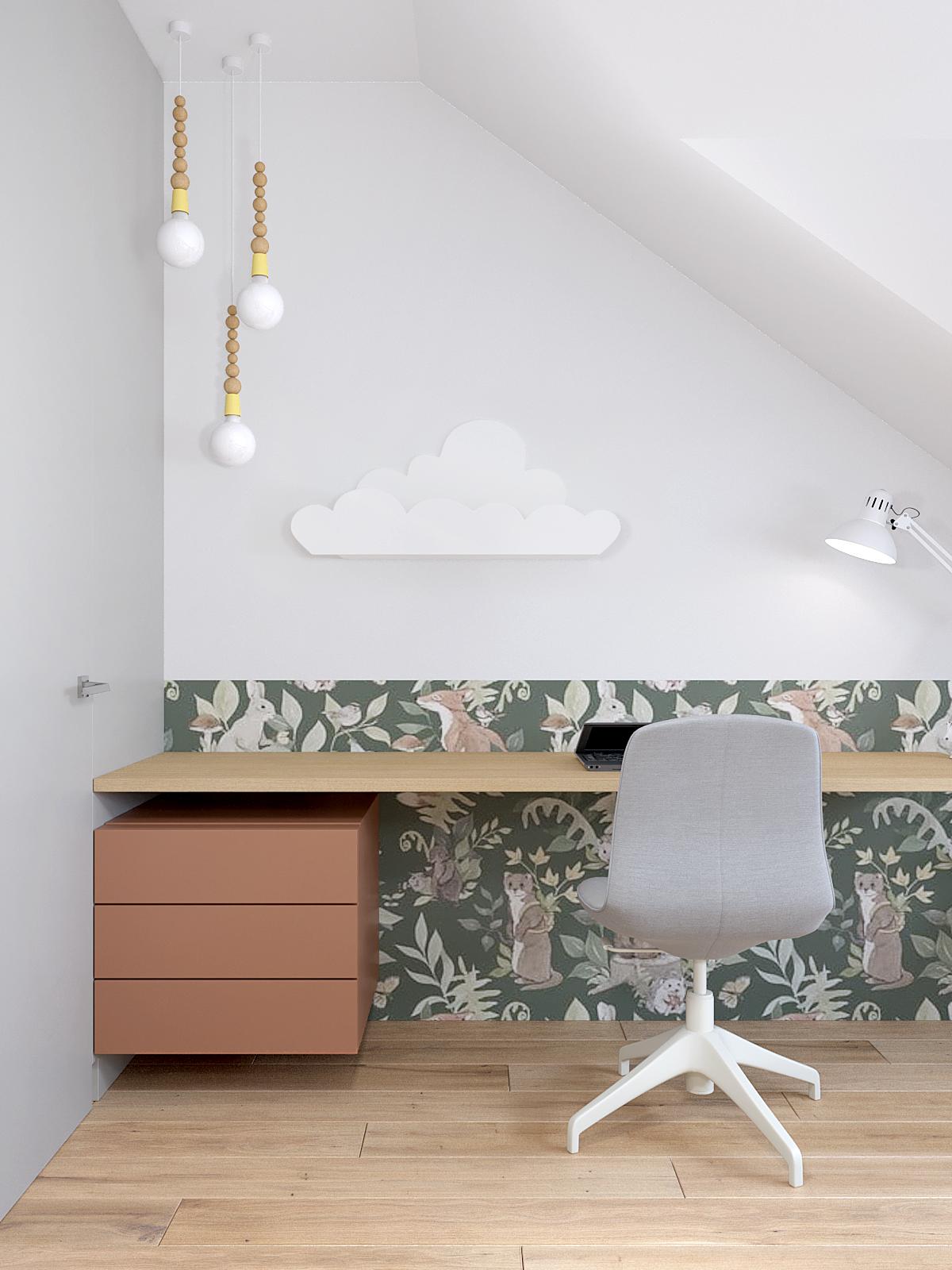 10 projektant wnetrz D423 poddasze pokoj dziewczynki polka chmurka biurko do nauki kolorowa tapeta