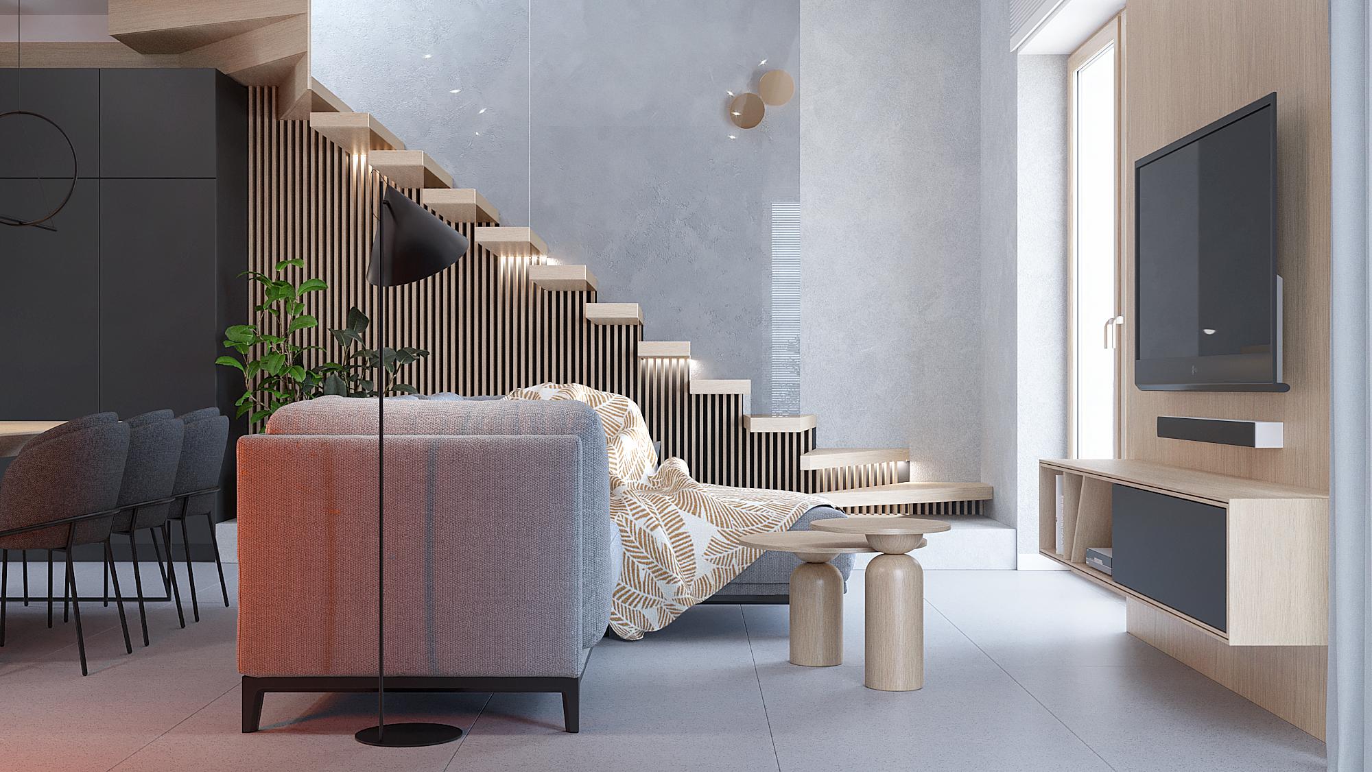 11 aranzacja wnetrz D395 dom Tychy salon szara sofa sciana telewizyjna z szafka rtv drewnane dywanowe schody szklana balustrada listewki na scianie