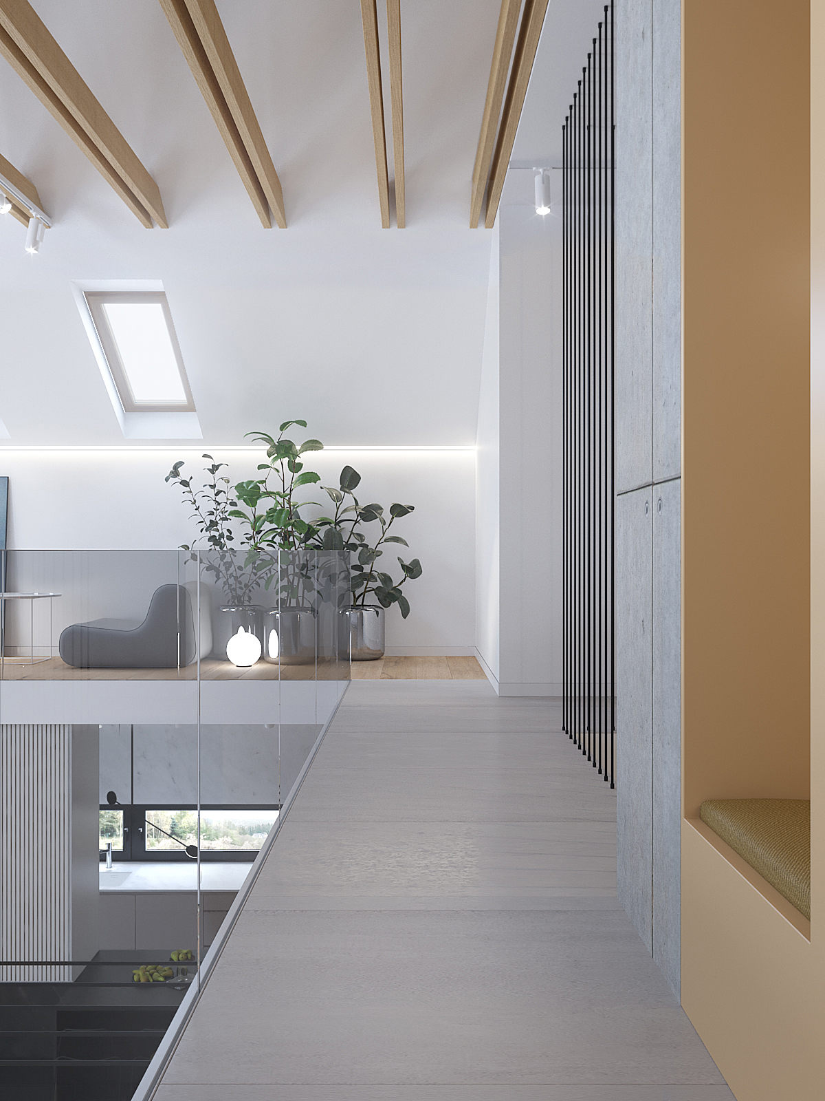 11 architekt wnetrz D428 dom Ruda Slaska antresola drewniane belki na suficie skosy z oknami zabudowa z siedziskiem