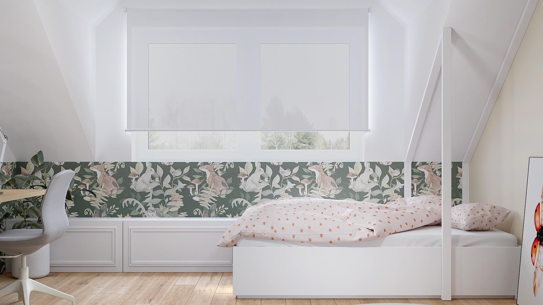 11 projektant wnetrz D423 poddasze Myslowice pokoj dla dziewczynki biale lozko domek tapata liski