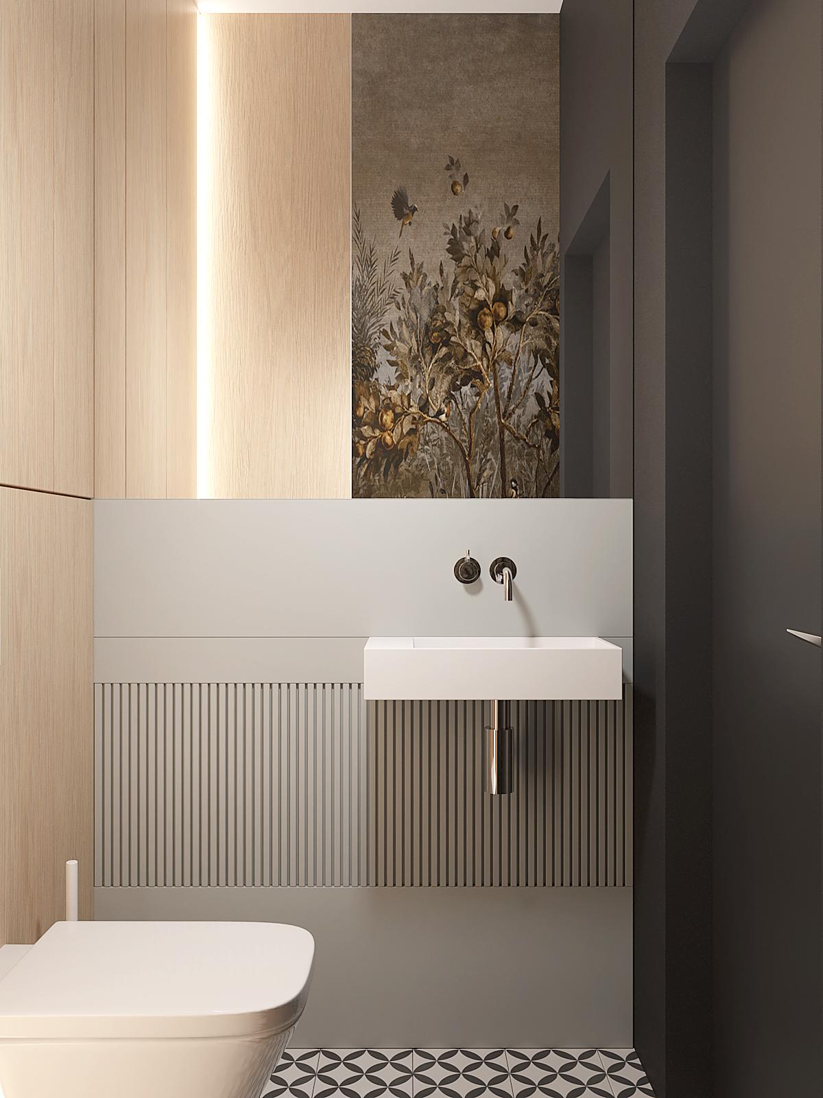 12 aranzacja wnetrz D395 dom Tychy toaleta lustro na scianie tapeta w toalecie zabudowa stelaza drewniana plyta