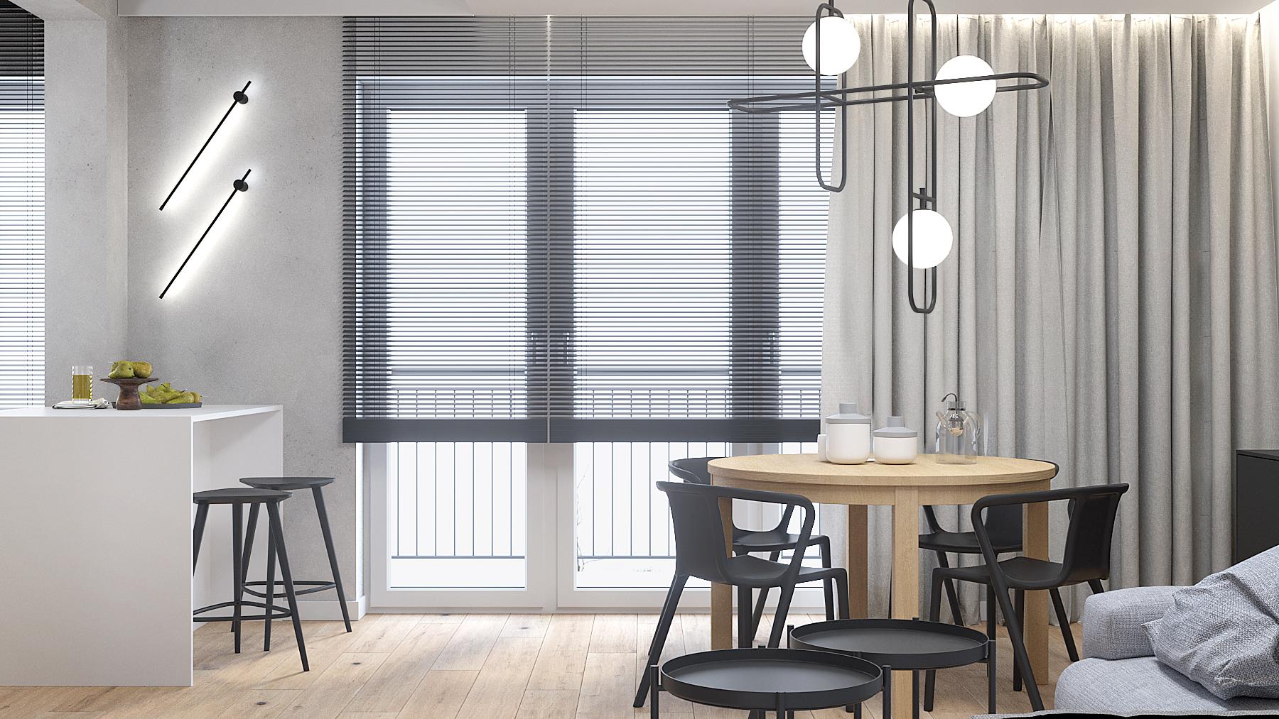 12 aranzacja wnetrz M387 mieszkanie Katowice pokoj dzienny okragly stol czarne krzesla lampa nad stolem