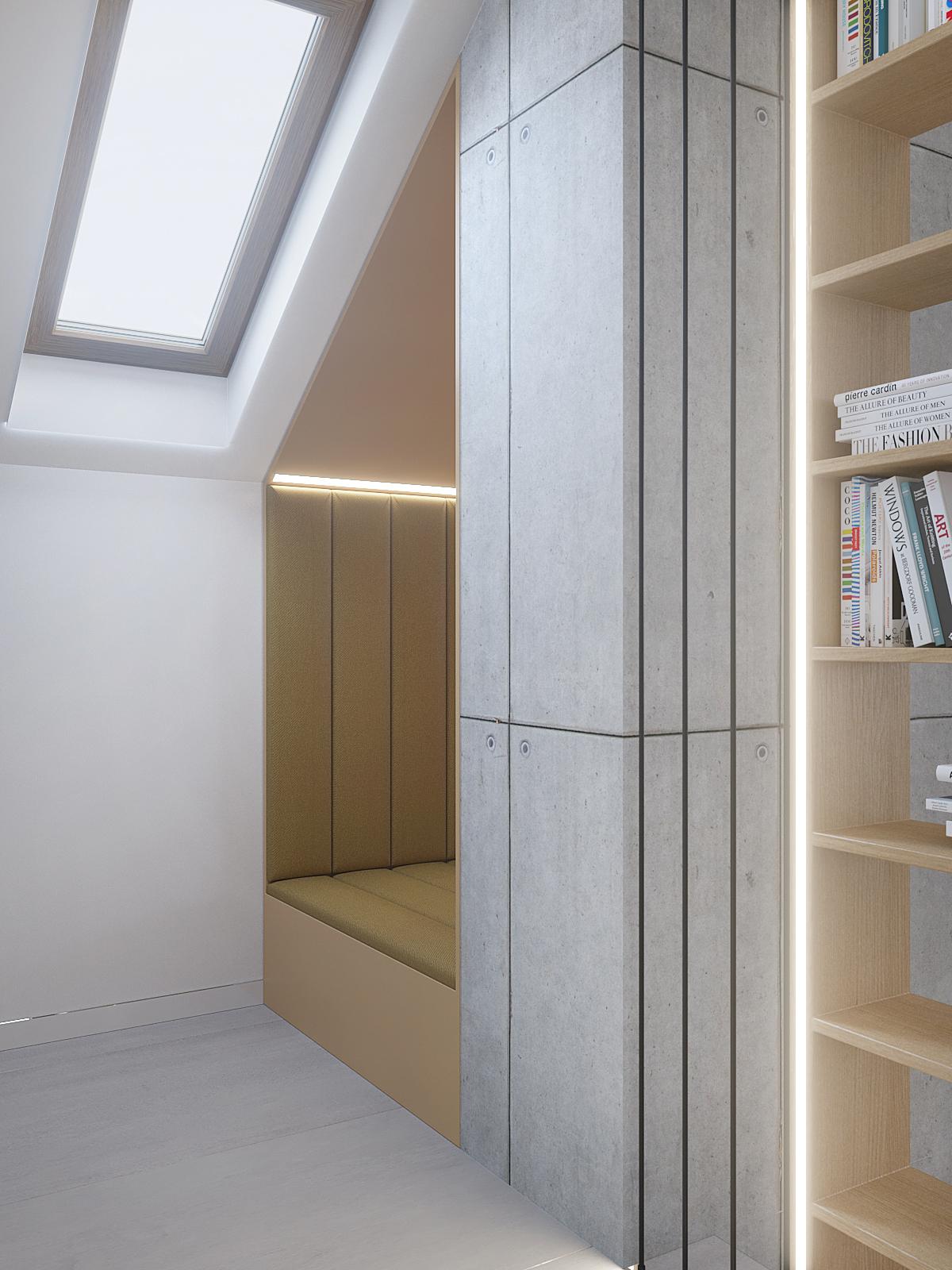 12 architekt wnetrz D428 dom Ruda Slaska antresola zabudowa z siedziskiem drewniany regal beton na scienie