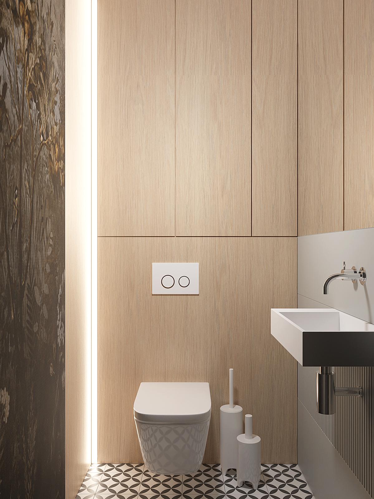 13 aranzacja wnetrz D395 dom Tychy toaleta drewniana zabudowa stelaza podswietlenie led tapeta w toalecie