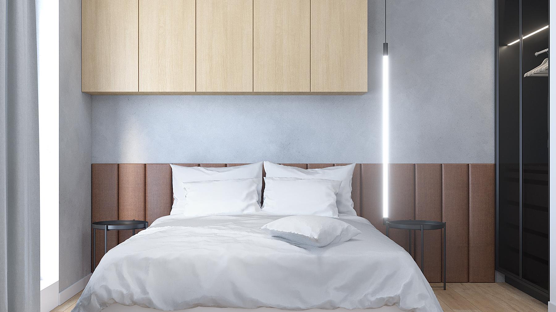 13 aranzacja wnetrz M387 mieszkanie Katowice sypialnia lozko z zaglowkiem wiszaca lampa szafki nad lozkiem beton na scianie