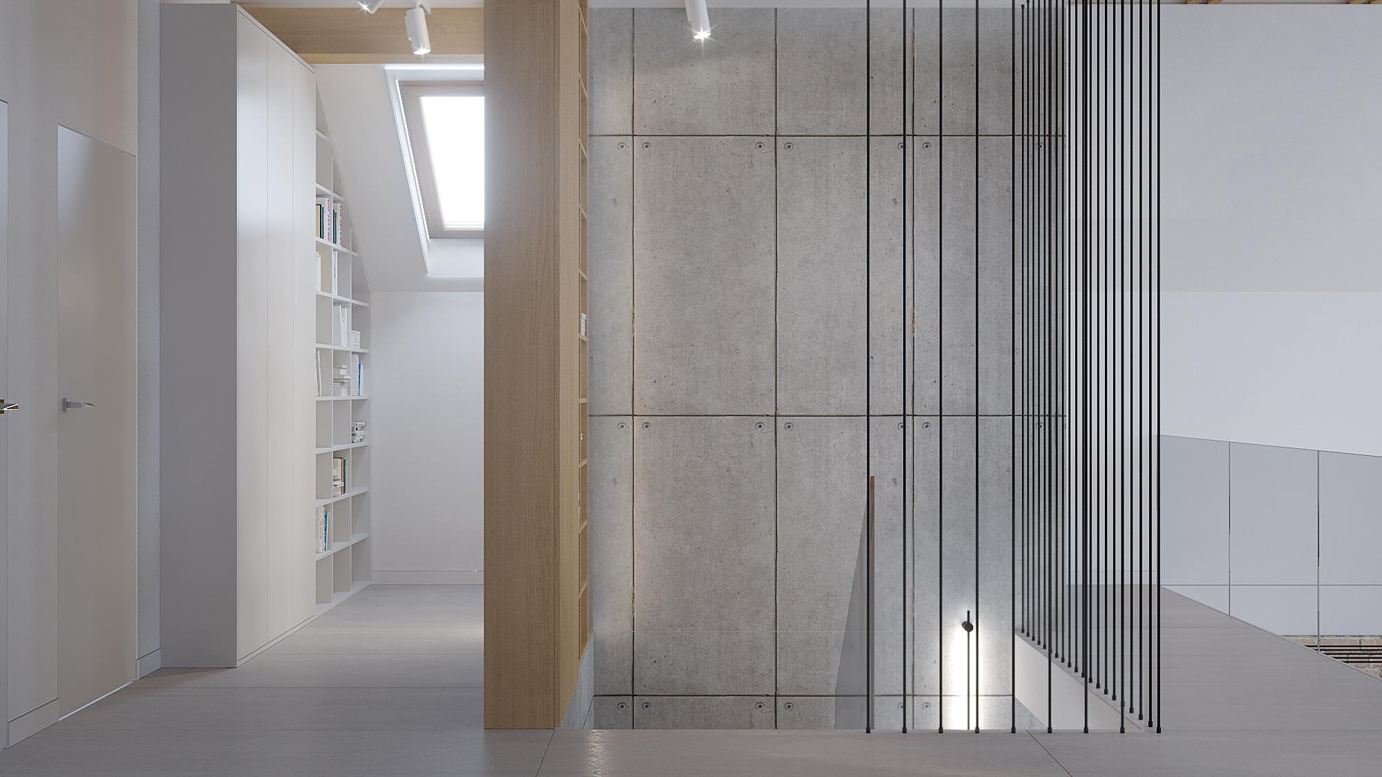 13 architekt wnetrz D428 dom Ruda Slaska antresola klatka schodowa z betonowa sciana biala zabudowa z regalem