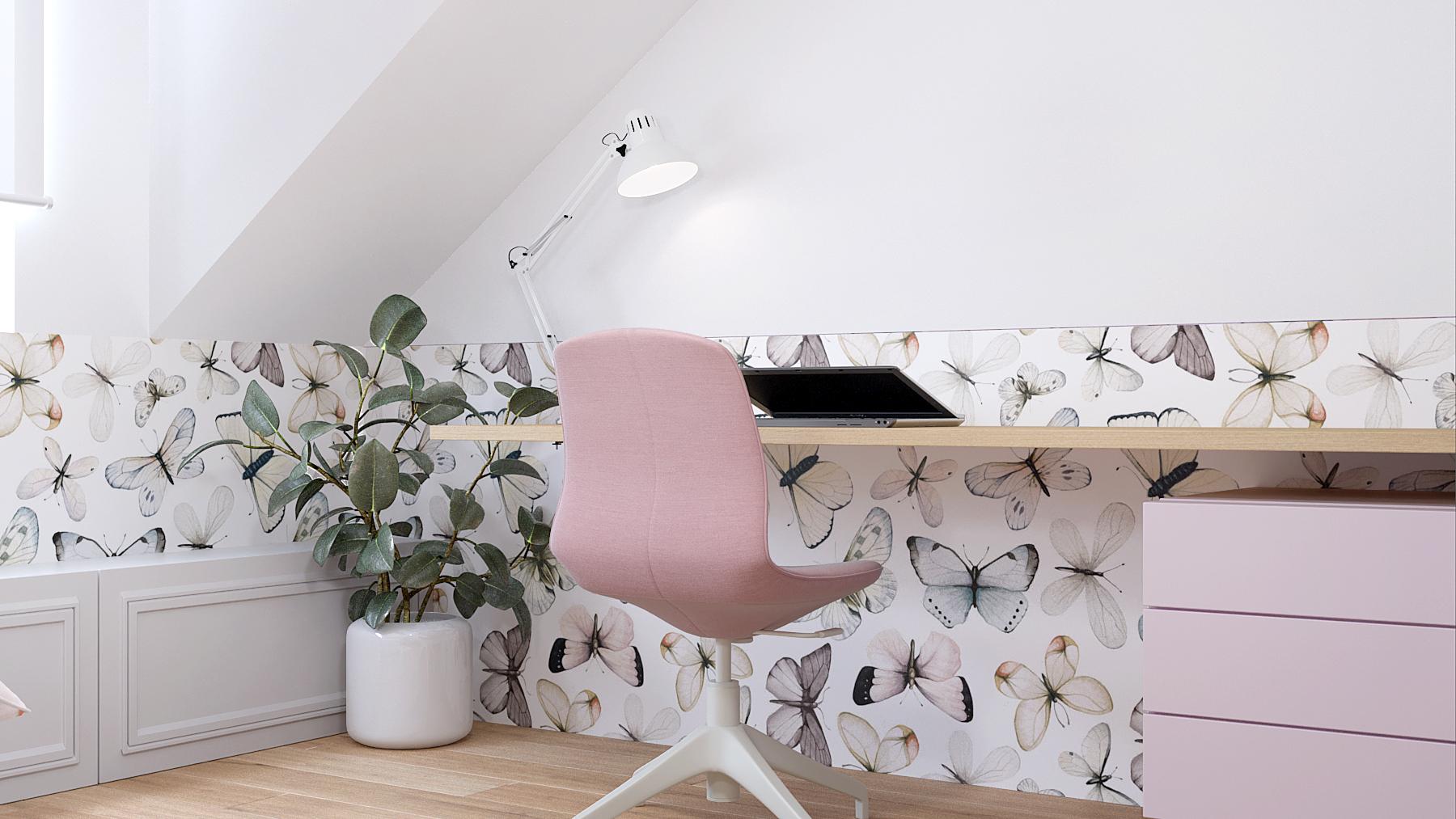 13 projektant wnetrz D423 poddasze Myslowice pokoj dla dziewczynki tapeta motyle rozowe krzeslo biurko romantyczny pokoj