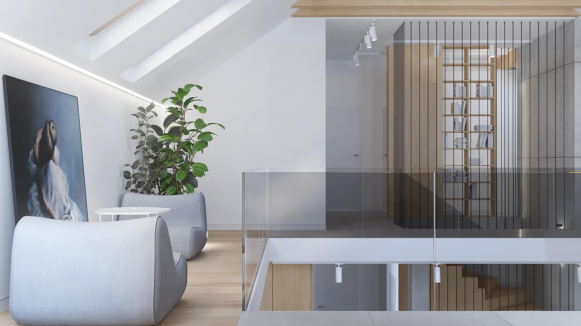14 architekt wnetrz D428 dom Ruda Slaska antresola szklan balustrada szare fotele drewnany regal obraz na scianie