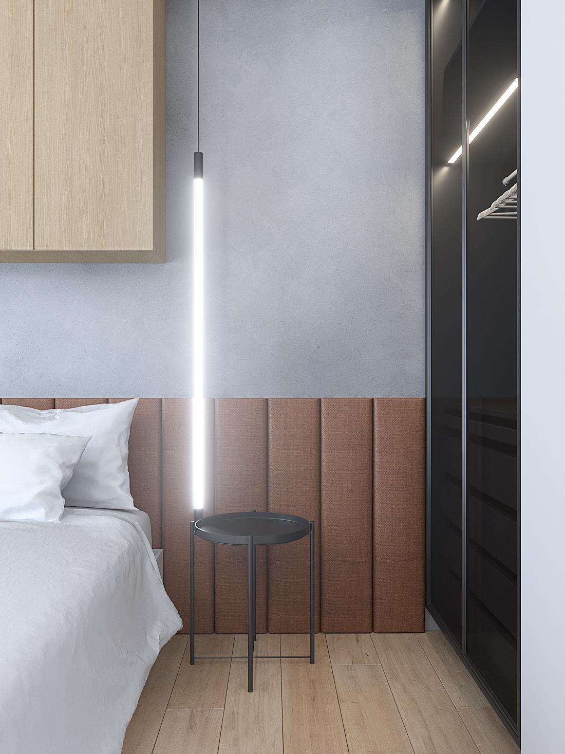 15 aranzacja wnetrz M387 mieszkanie Katowice sypialnia zaglowek na scianie lampa wiszaca beton na scianie