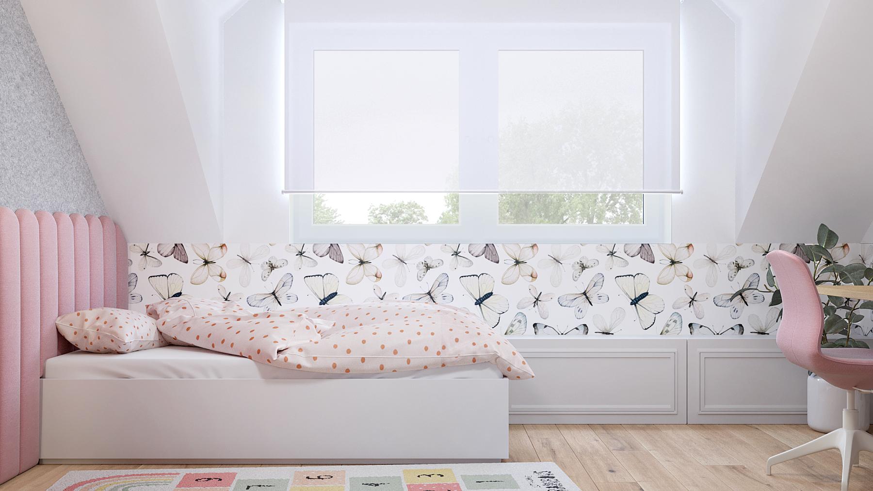 15 projektant wnetrz D423 poddasze Myslowice pokoj dziewczynki biale lozko rozowy zaglowek tapeta motylki romantyczny pokoj