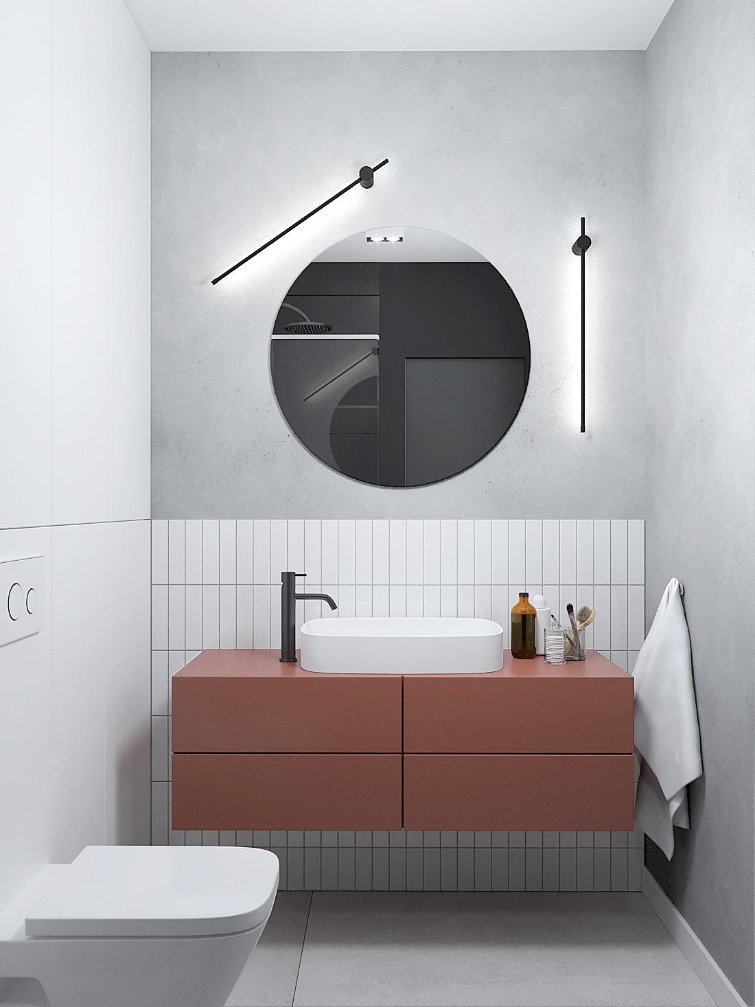 16 aranzacja wnetrz M387 mieszkanie Katowice lazienka bordowa szafka umywalkowa okragle lustro plytki cegielki biale czarna bateria