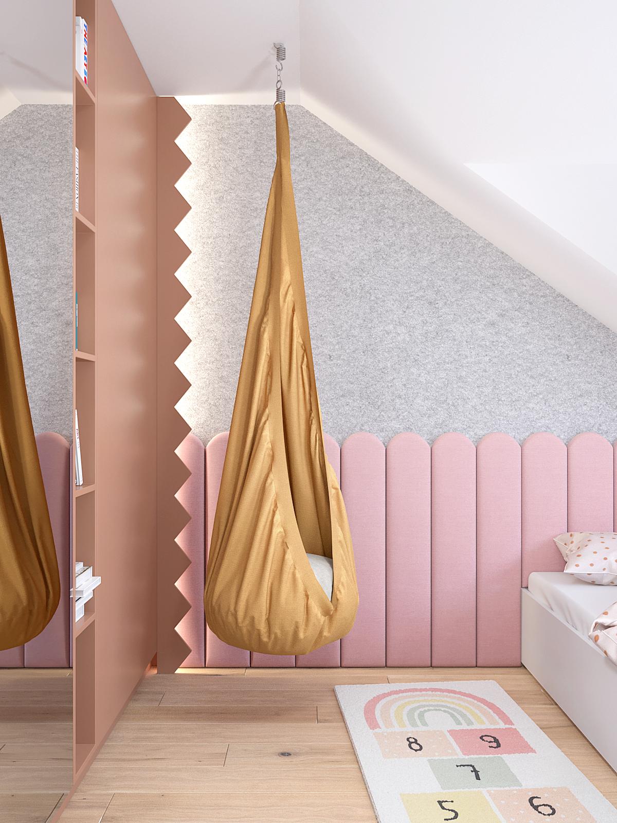 16 projektant wnetrz D423 poddasze Myslowice pokoj dziewczynki rozowa zabudowa sciana tapicerowana hustwaka worek