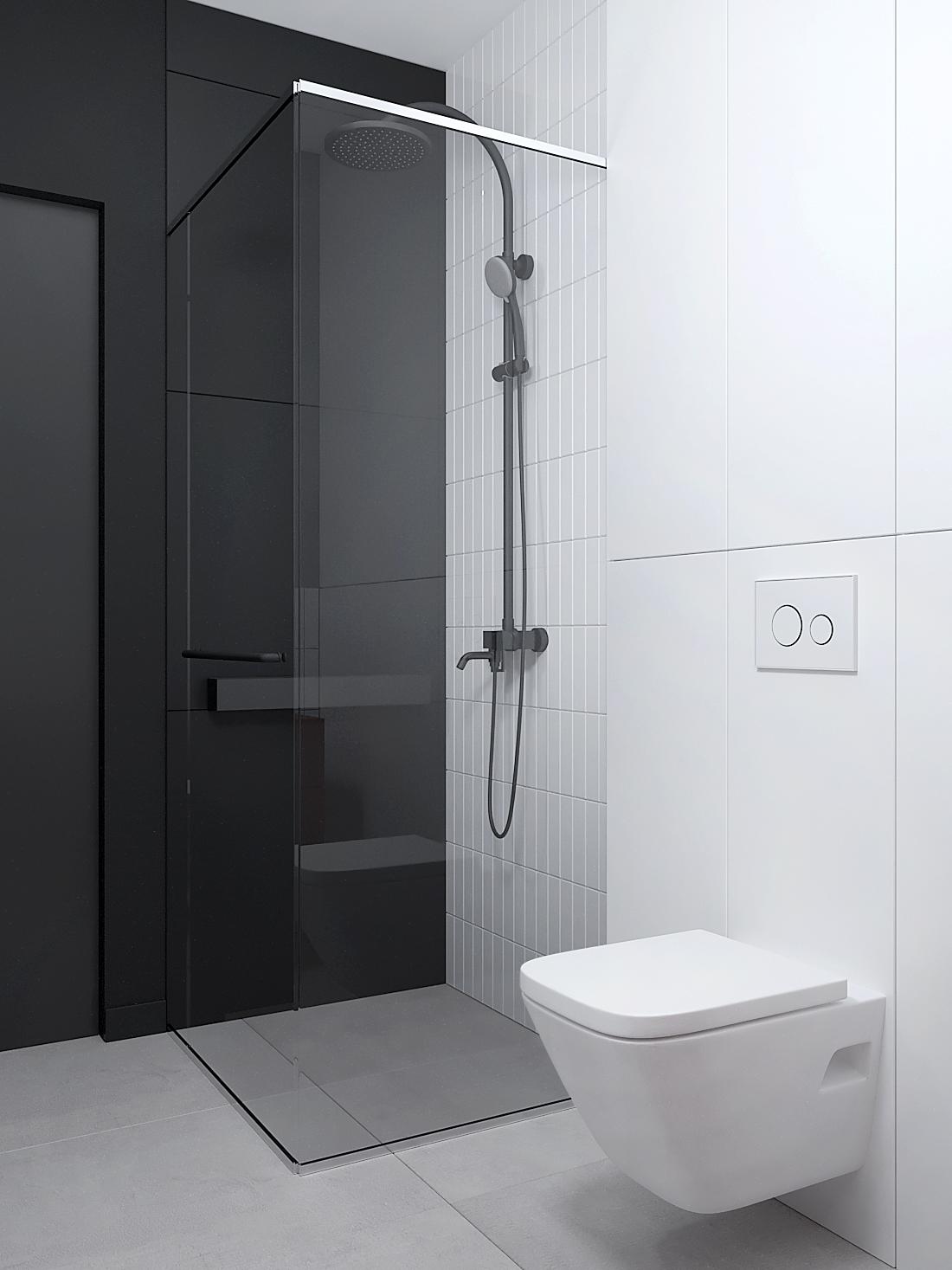 17 aranzacja wnetrz M387 mieszkanie Katowice lazienka biala zabudowa stelaza prsznica biala cegielka ukryte drzwi