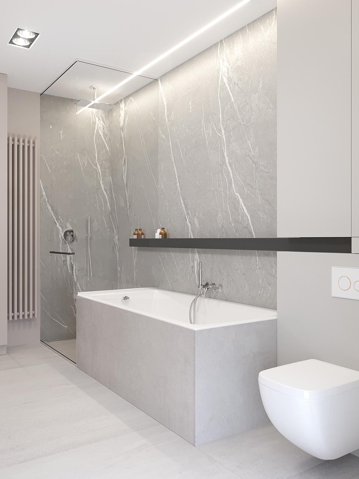 17 architekt wnetrz D428 dom Ruda Slaska lazienka prysznic z wanna szary marmur polka na kosmetyki
