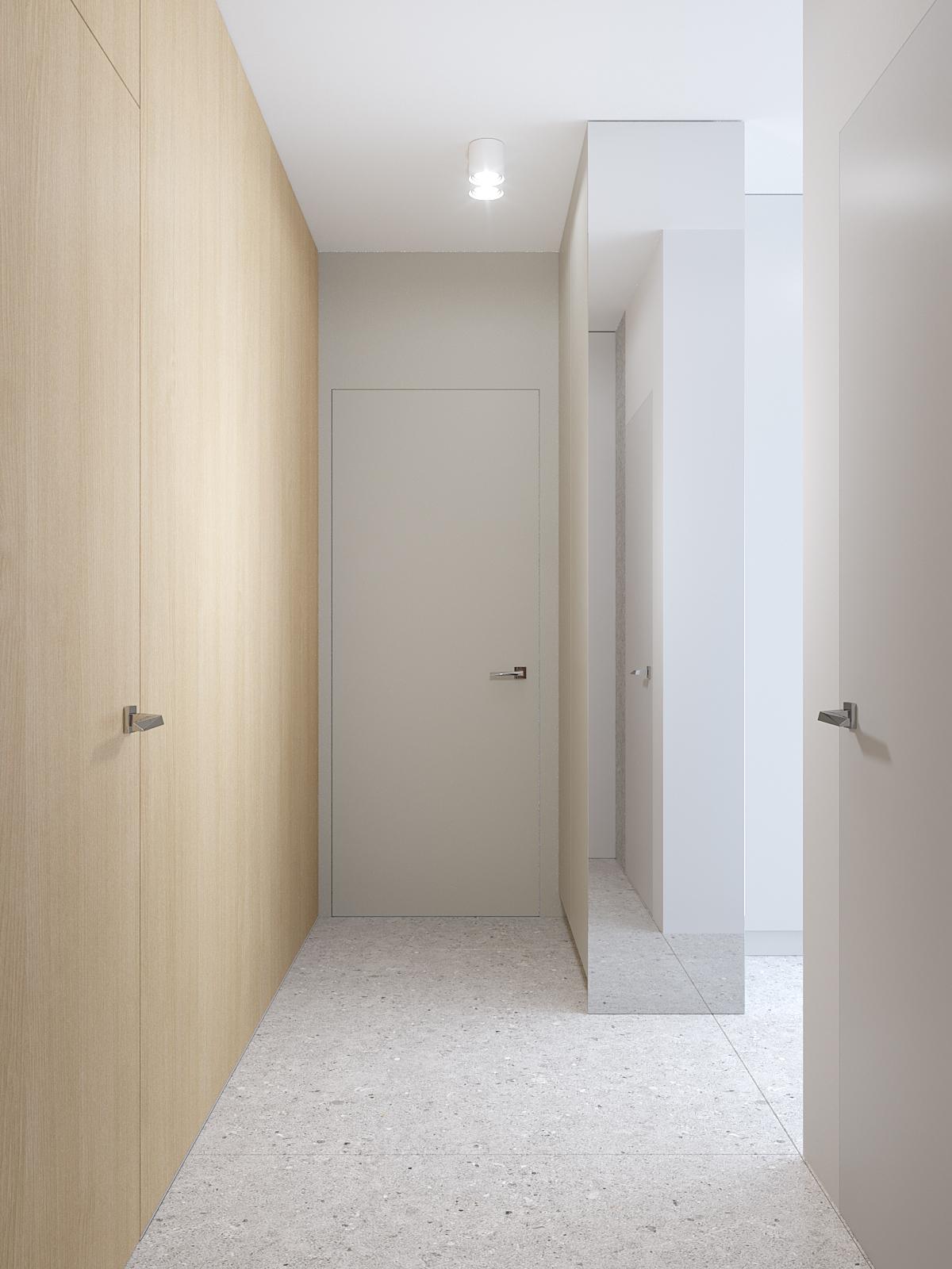 17 projektant wnetrz D423 poddasze hol zabudowa drewniana z drzwiami ukryte drzwi szare plytki