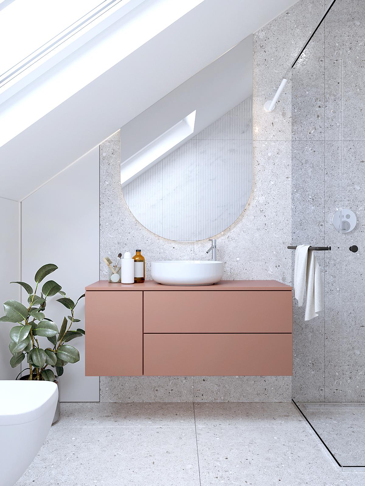 19 projektant wnetrz D423 poddasze lazienka na poddaszu szare plytki kolorowa szafka umywalkowa skosne lustro