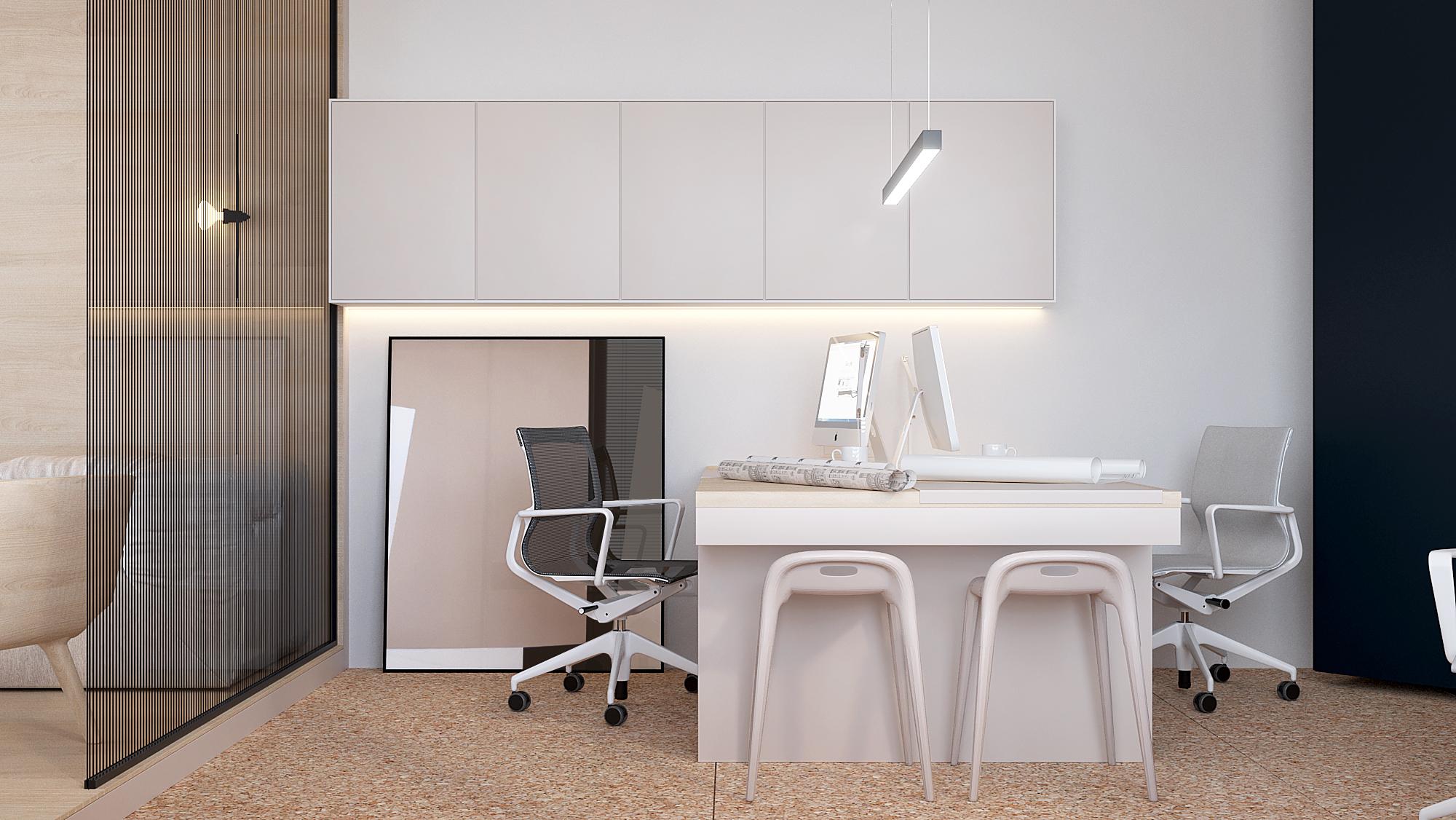 2 aranzacja wnetrz B089 biuro katowice miejsce pracy bench biala sciana plyta osb na podlodze przeszklona sciana