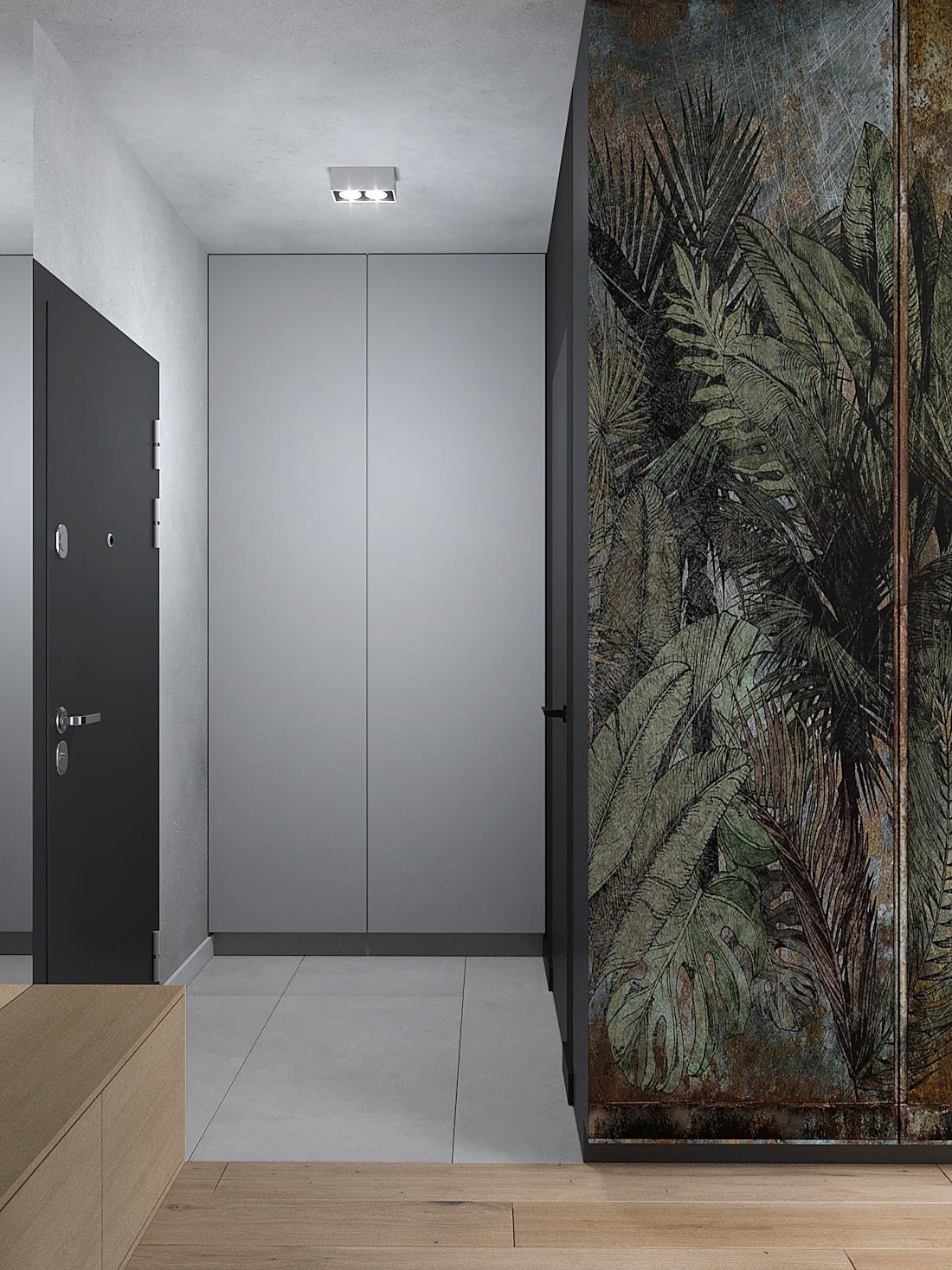 2 aranzacja wnetrz M387 mieszkanie Katowice kortarz szara zabudowa tapeta w liscie ukryte drzwi