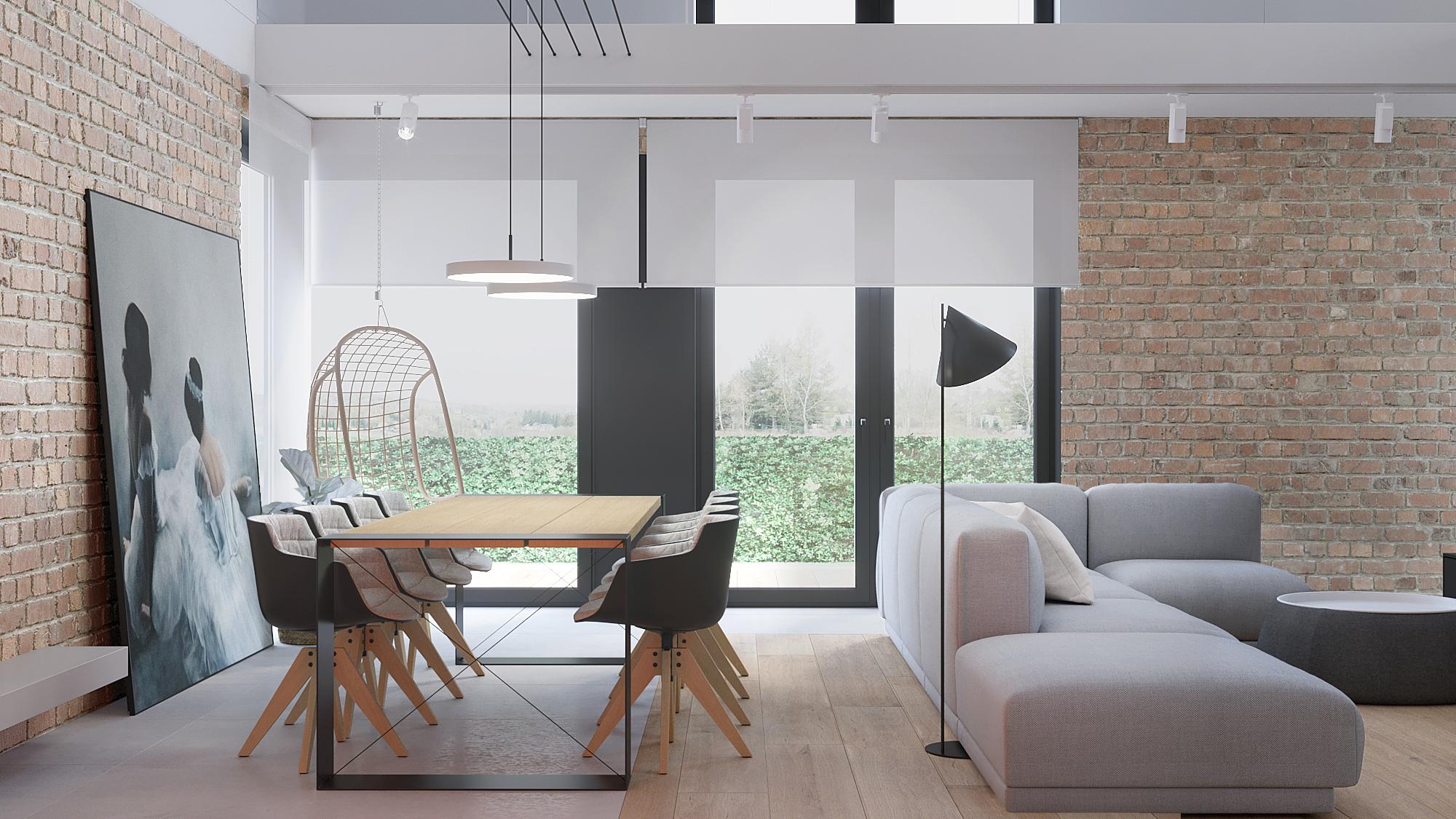2 architekt wnetrz D428 dom Ruda Slaska salon z jadalnia drewnani stol na metalowych nogach krzesla kubelkowe hustwaka cagla na scianie