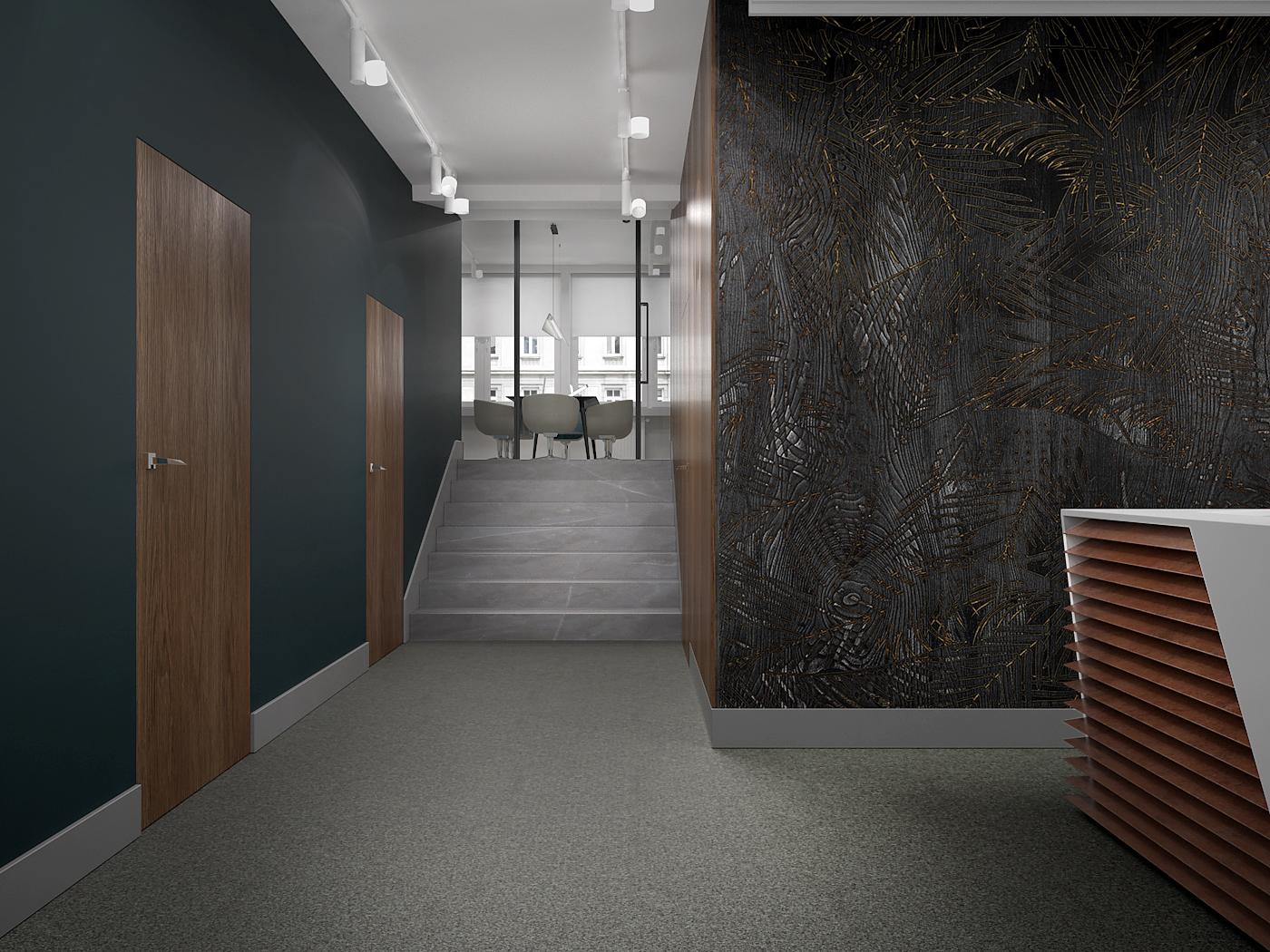2 projekt biura B247 Kancelaria warszawa korytarz tapeta na scianie liscie wykladzina obiektowa oswietlenie na szynoprzewodach drewniane schody