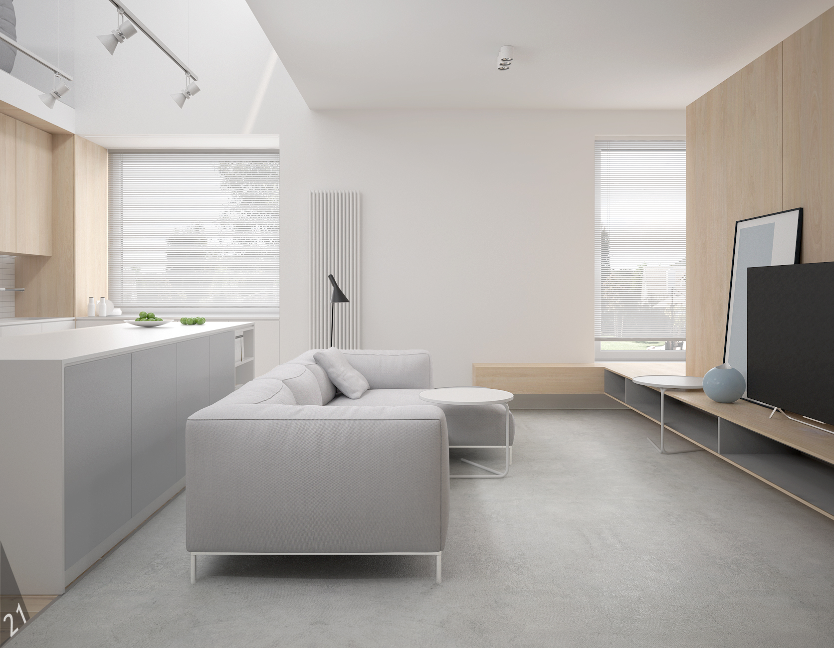 2 projektant wnetrz D372 dom z antresola katowice posadzka betonowa drewno na scianie biala wyspa kuchenna