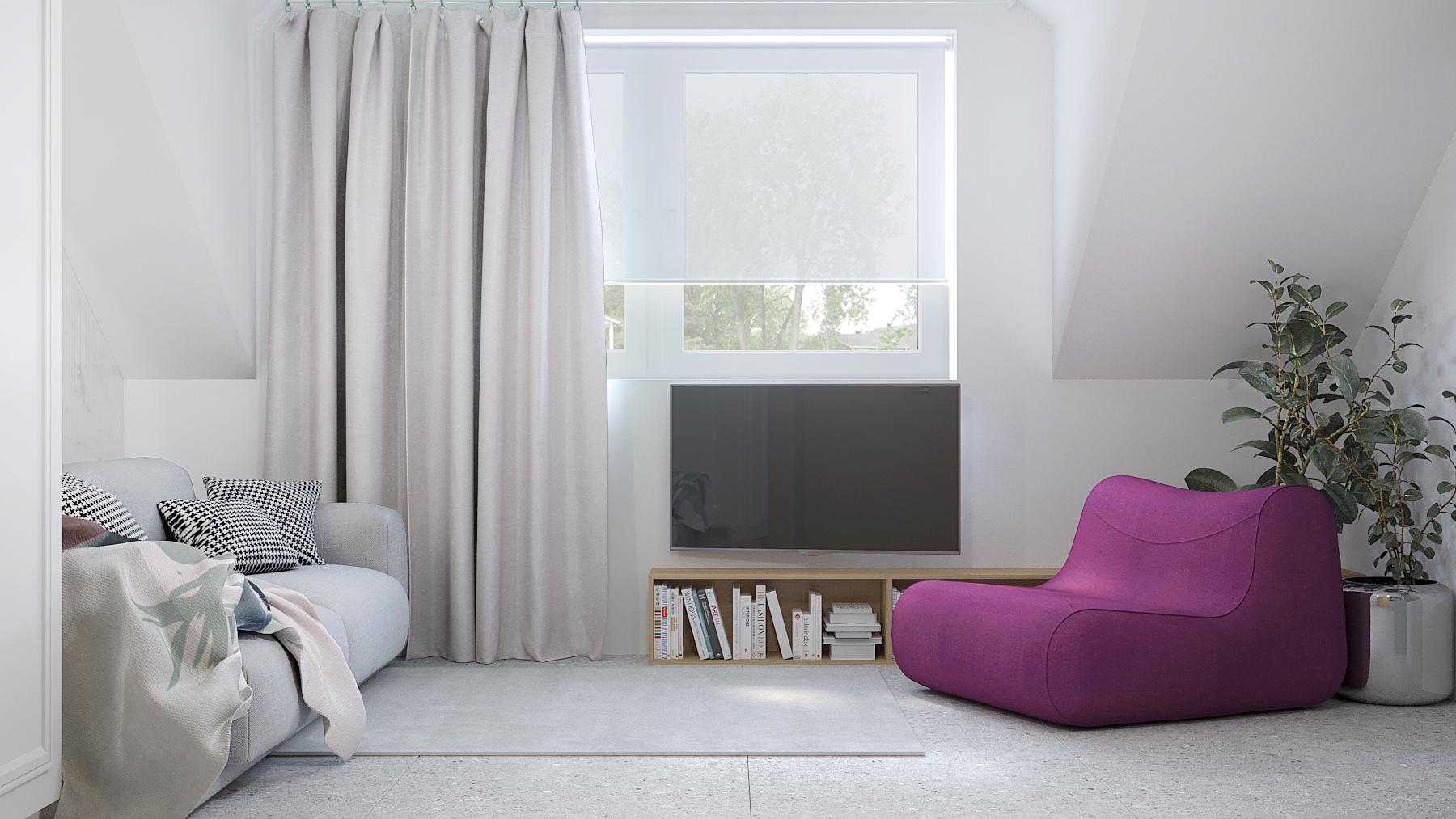 2 projektant wnetrz D423 poddasze Myslowice pokoj poddasze fioletowy fotel szara sofa