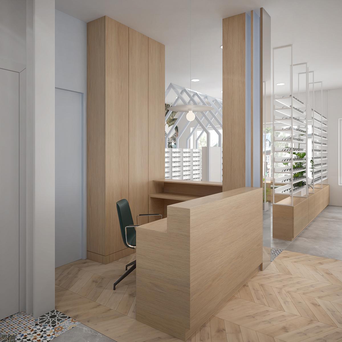 2 projektowanie wnetrz K098 optyk Strozik Lubliniec stanowisko obslugi klienta drewniana zabudowa jodelka na podlodze