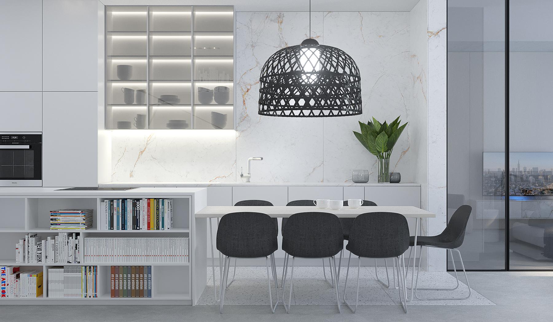 2 projektowanie wnetrz M245 mieszkanie krakow biala kuchnia stol z wyspa czarna azurowa lampa szare krzesla