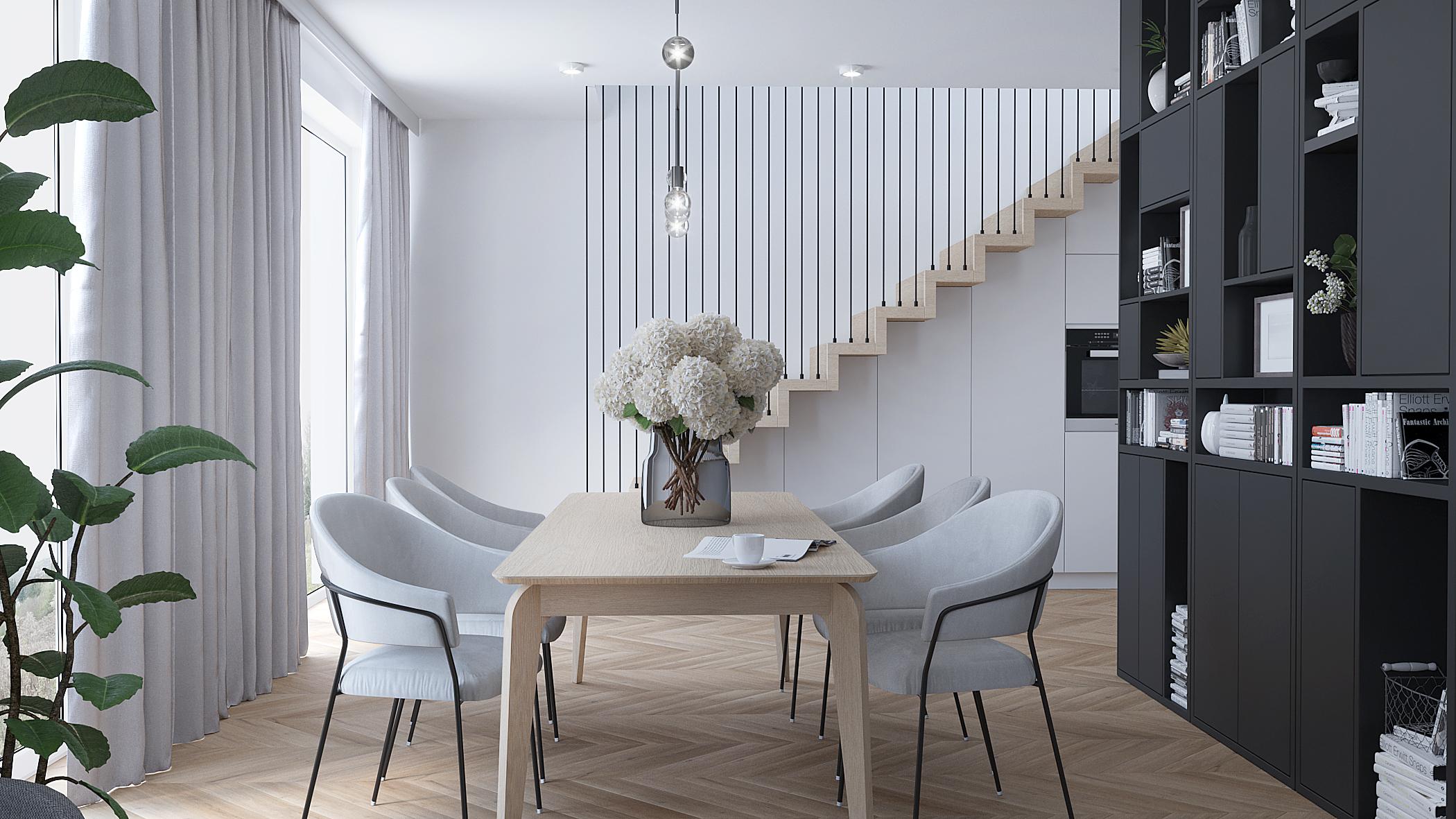 2 projektowanie wnetrz M356 mieszkanie Krakow drewniany stol szare krzesla schody dywanowe balustrada prety